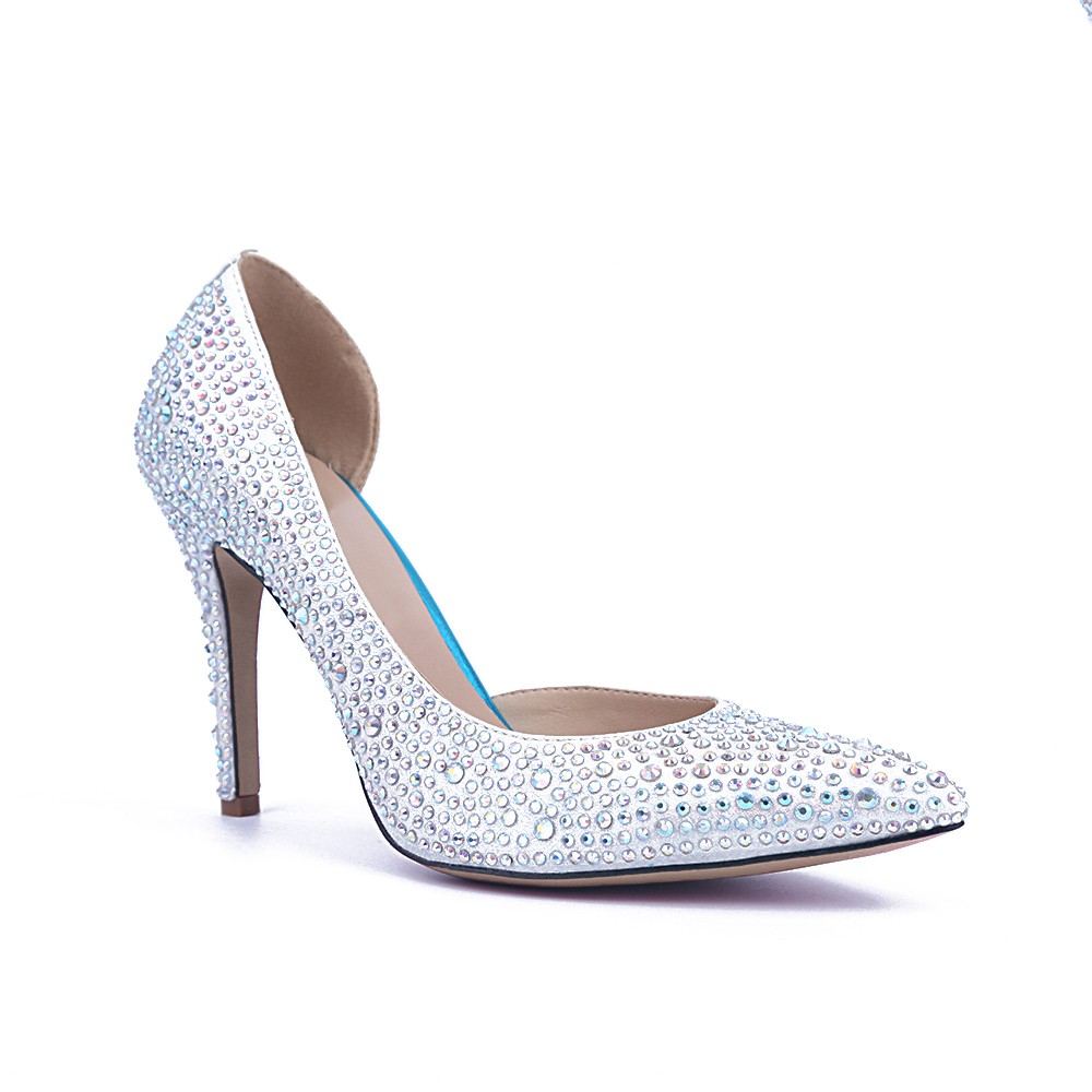 Chicregina Womens Satin Closed Toe Stiletto Heel Party Shoes with Rhinestone