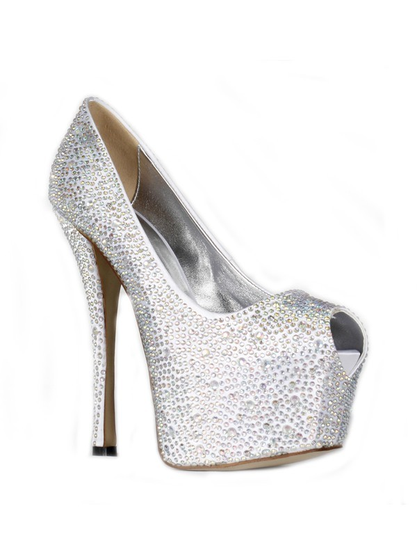 Chicregina Womens Satin Stiletto Heel Peep Toe Platform Shoes with Rhinestone