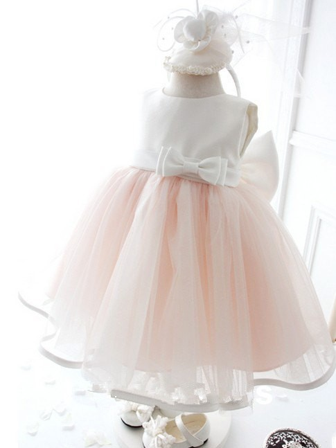 Chicregina Long Ball Gown Jewel Sleeveless Bowknot Organza Communion Dress