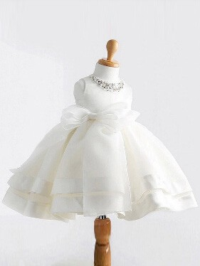 Chicregina Long Ball Gown Jewel Sleeveless Bowknot Satin Communion Dress